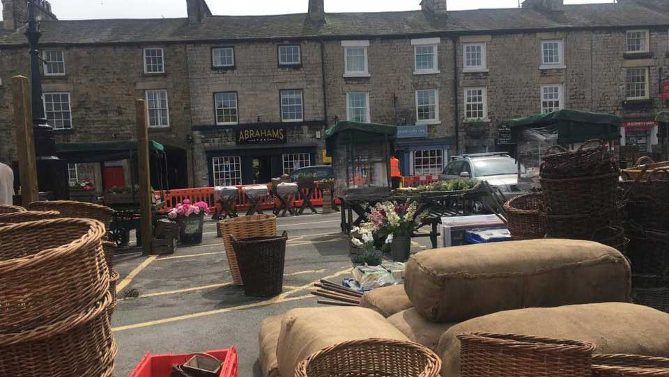 Kirkby Lonsdale Market square as a film set